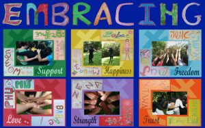 A collage of artwork with the word Embracing at the top